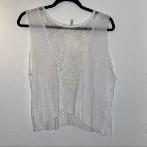 White crop top with mesh cutout